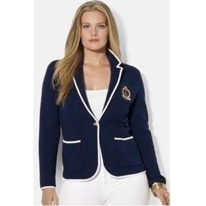 Ralph Lauren Classic Gold Crest Navy Knit Blazer